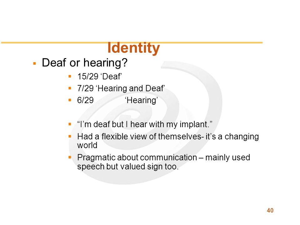 40 Identity  Deaf or hearing.