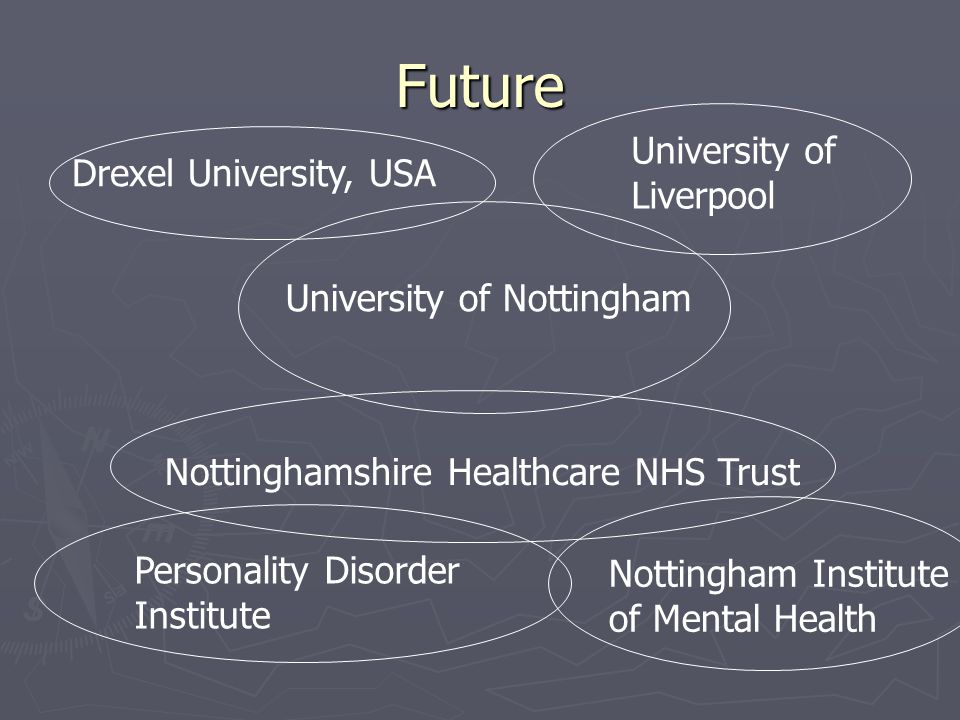 Future University of Nottingham Nottinghamshire Healthcare NHS Trust Drexel University, USA University of Liverpool Personality Disorder Institute Nottingham Institute of Mental Health