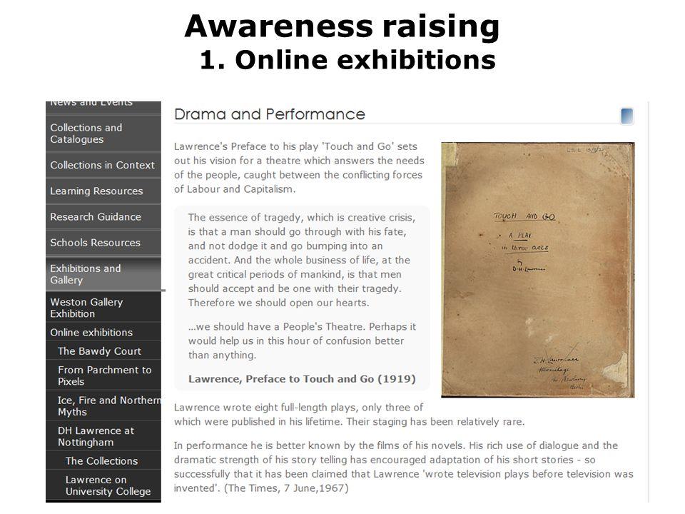 Awareness raising 1. Online exhibitions