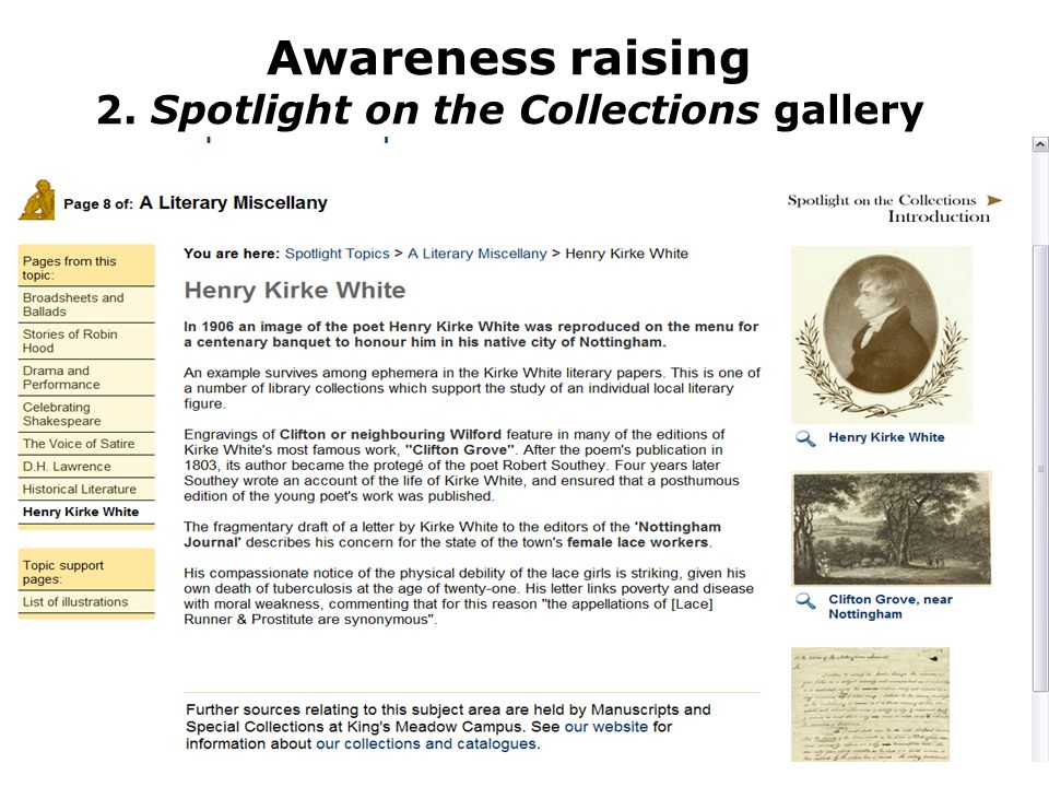 Awareness raising: 3. Collection resource pages