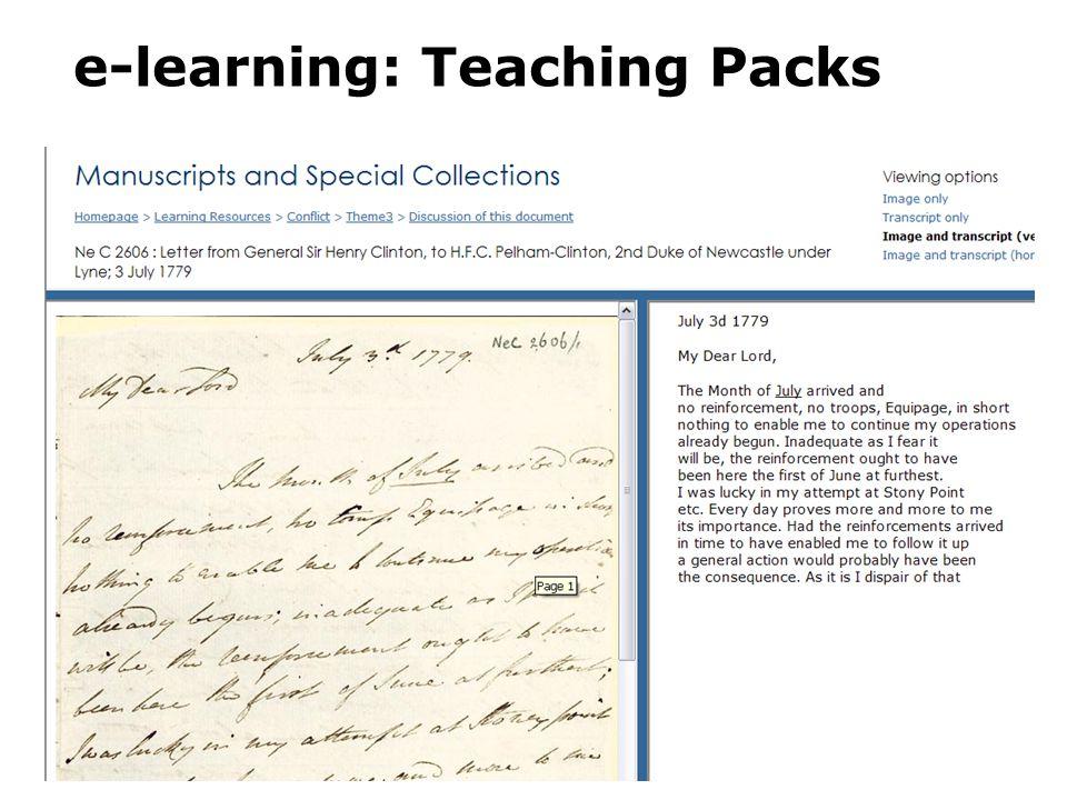 e-learning: Teaching Packs