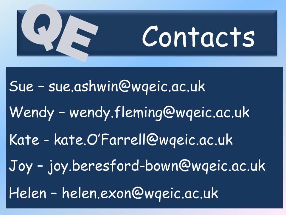 Contacts Sue – sue.ashwin@wqeic.ac.uk Wendy – wendy.fleming@wqeic.ac.uk Kate - kate.O'Farrell@wqeic.ac.uk Joy – joy.beresford-bown@wqeic.ac.uk Helen – helen.exon@wqeic.ac.uk