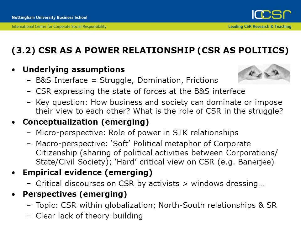(3.2) CSR AS A POWER RELATIONSHIP (CSR AS POLITICS) Underlying assumptions –B&S Interface = Struggle, Domination, Frictions –CSR expressing the state of forces at the B&S interface –Key question: How business and society can dominate or impose their view to each other.