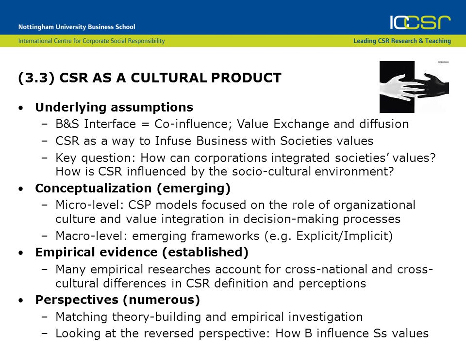 (3.3) CSR AS A CULTURAL PRODUCT Underlying assumptions –B&S Interface = Co-influence; Value Exchange and diffusion –CSR as a way to Infuse Business with Societies values –Key question: How can corporations integrated societies' values.