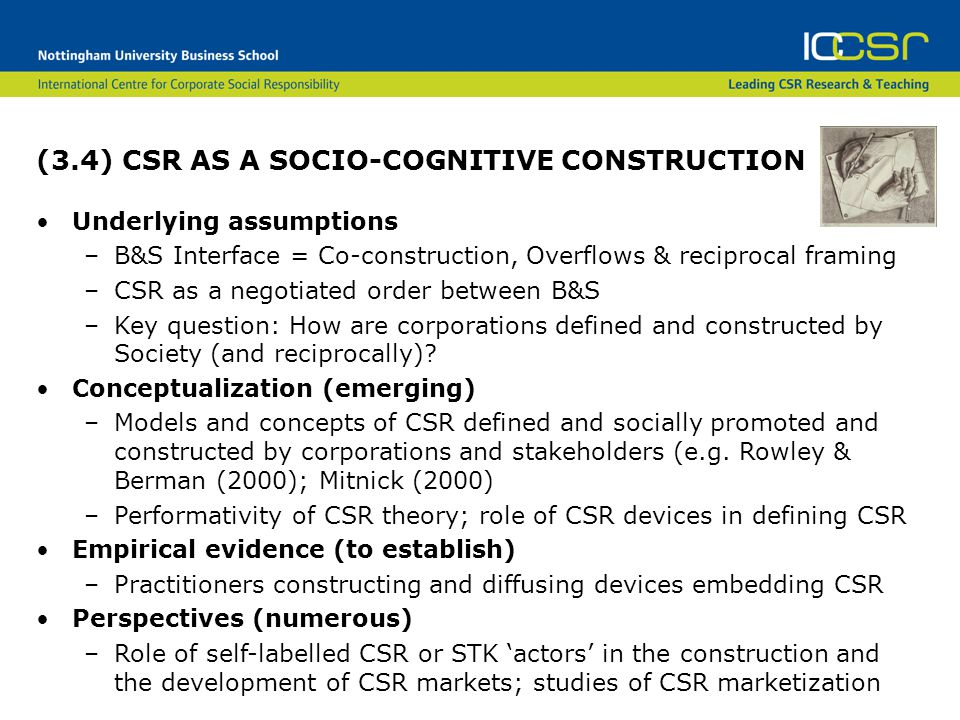 (3.4) CSR AS A SOCIO-COGNITIVE CONSTRUCTION Underlying assumptions –B&S Interface = Co-construction, Overflows & reciprocal framing –CSR as a negotiated order between B&S –Key question: How are corporations defined and constructed by Society (and reciprocally).