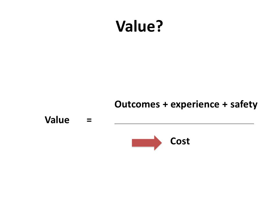 Value? Outcomes + experience + safety Value= Cost