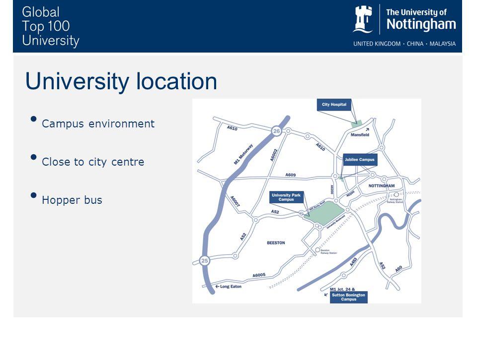 University location Campus environment Close to city centre Hopper bus