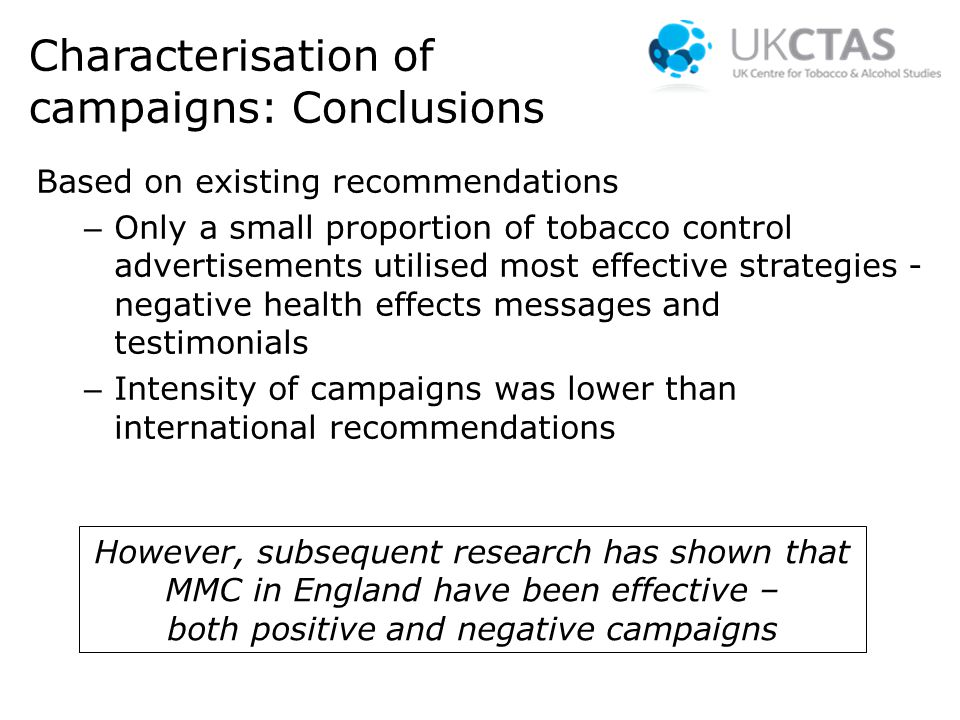 Characterisation of campaigns: Conclusions Based on existing recommendations – Only a small proportion of tobacco control advertisements utilised most effective strategies - negative health effects messages and testimonials – Intensity of campaigns was lower than international recommendations However, subsequent research has shown that MMC in England have been effective – both positive and negative campaigns
