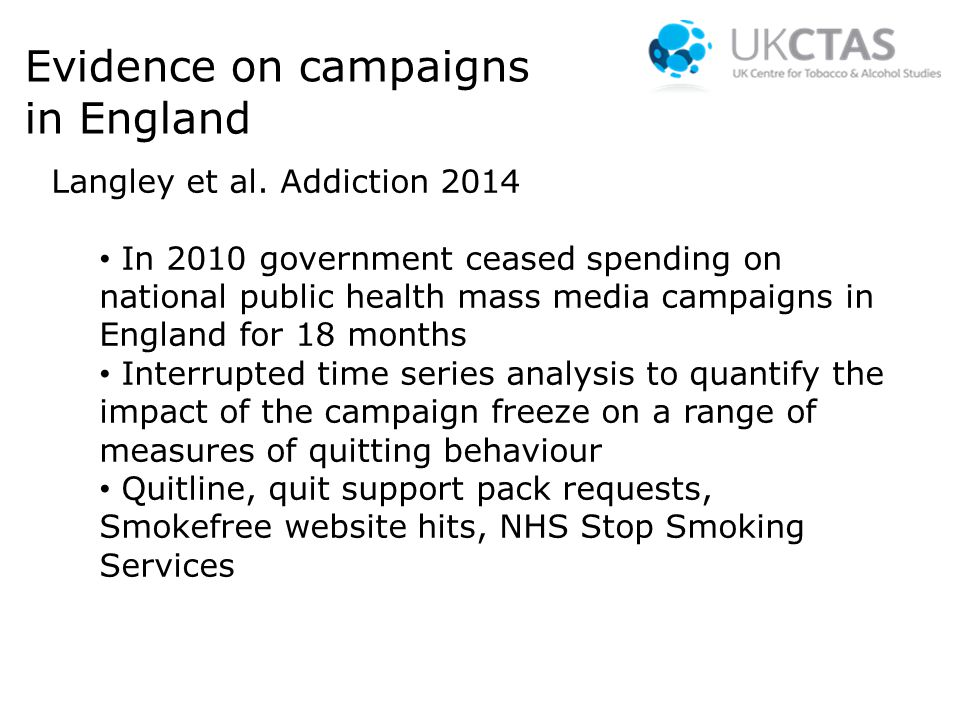 Evidence on campaigns in England Langley et al.