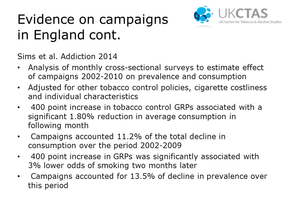 Evidence on campaigns in England cont. Sims et al.