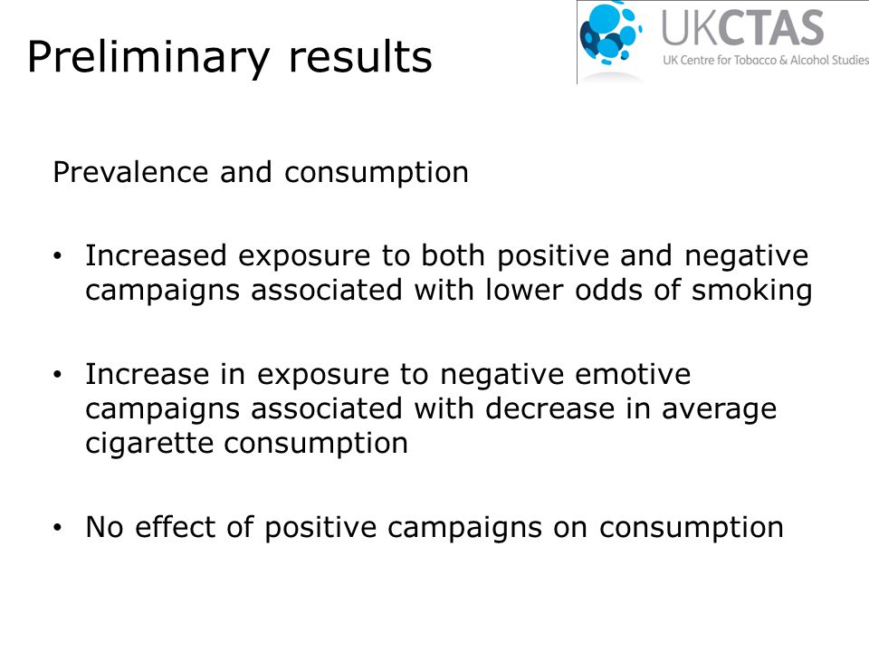 Preliminary results Prevalence and consumption Increased exposure to both positive and negative campaigns associated with lower odds of smoking Increase in exposure to negative emotive campaigns associated with decrease in average cigarette consumption No effect of positive campaigns on consumption