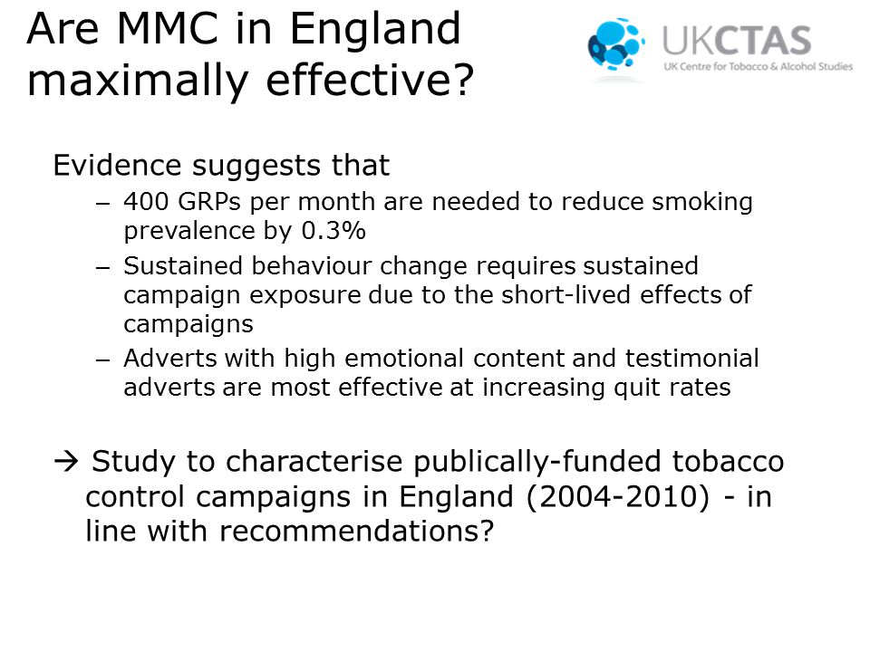Are MMC in England maximally effective.
