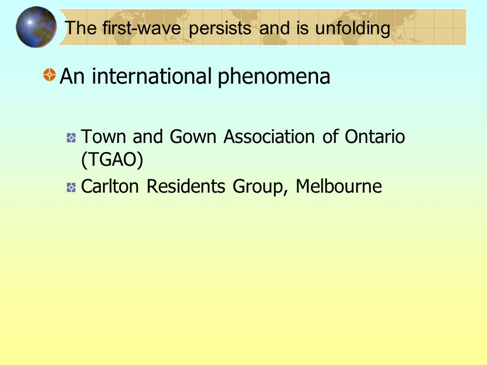 The first-wave persists and is unfolding An international phenomena Town and Gown Association of Ontario (TGAO) Carlton Residents Group, Melbourne