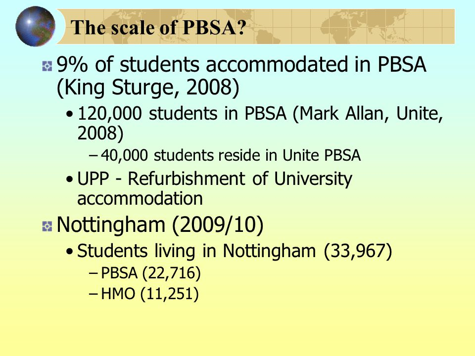 The scale of PBSA.
