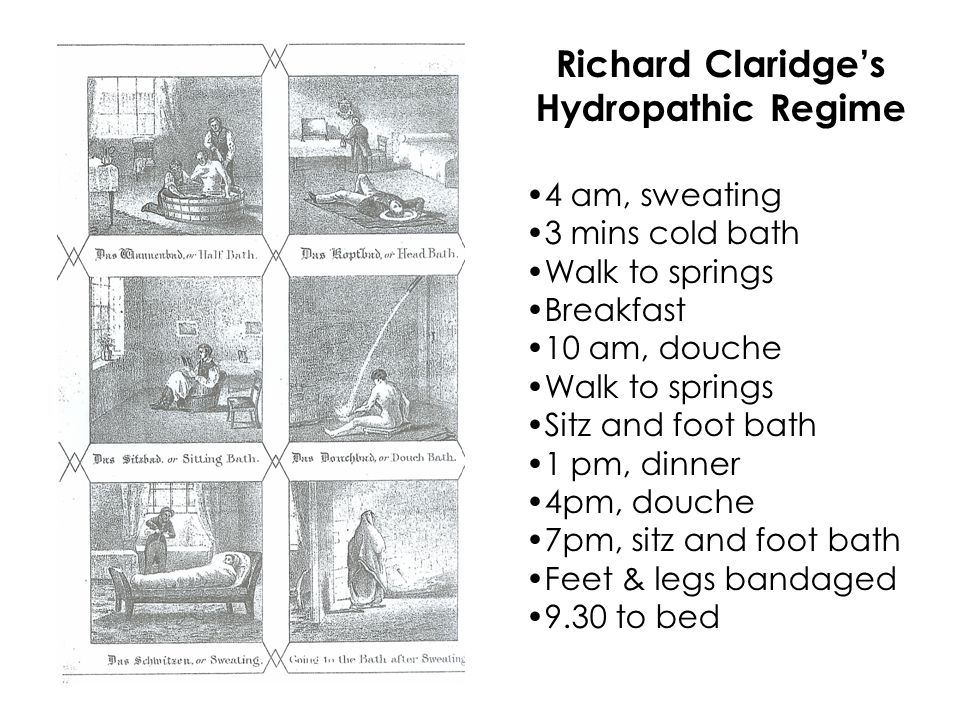 Richard Claridge's Hydropathic Regime 4 am, sweating 3 mins cold bath Walk to springs Breakfast 10 am, douche Walk to springs Sitz and foot bath 1 pm, dinner 4pm, douche 7pm, sitz and foot bath Feet & legs bandaged 9.30 to bed