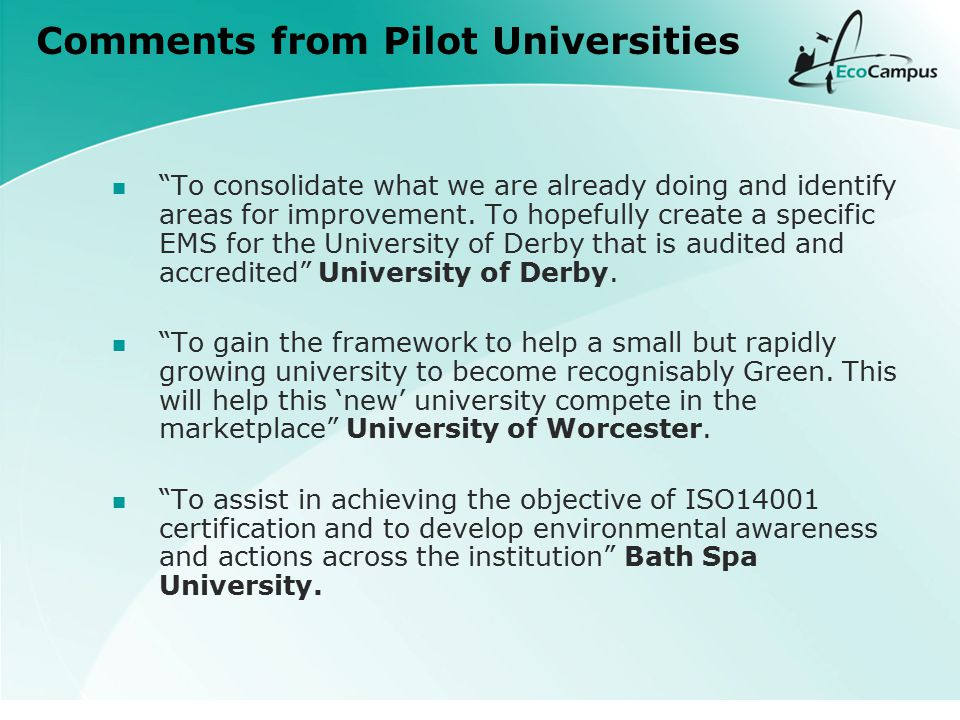 Comments from Pilot Universities To consolidate what we are already doing and identify areas for improvement.
