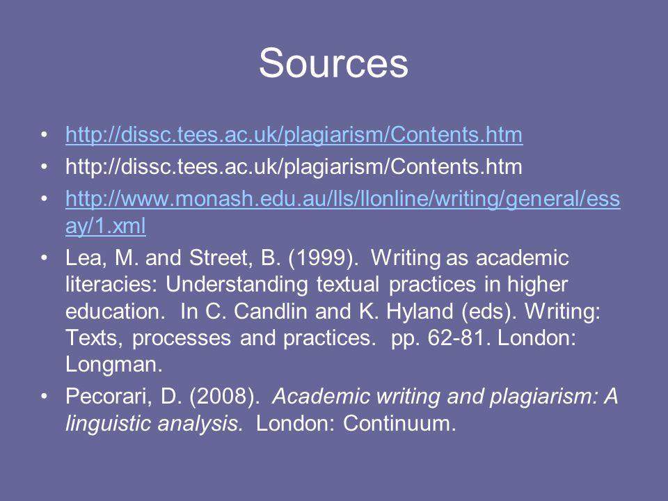Sources http://dissc.tees.ac.uk/plagiarism/Contents.htm http://www.monash.edu.au/lls/llonline/writing/general/ess ay/1.xmlhttp://www.monash.edu.au/lls/llonline/writing/general/ess ay/1.xml Lea, M.