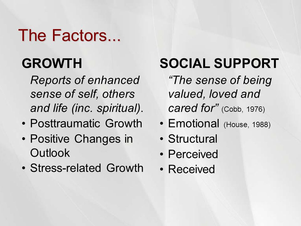 The Factors... GROWTH Reports of enhanced sense of self, others and life (inc. spiritual). Posttraumatic Growth Positive Changes in Outlook Stress-rel