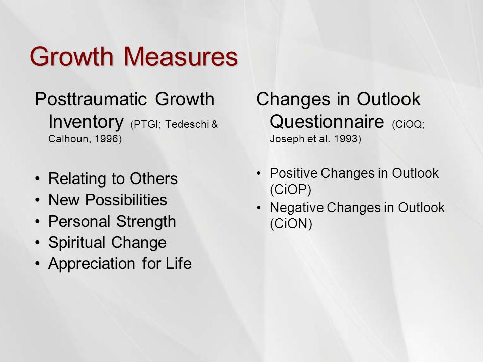 Growth Measures Posttraumatic Growth Inventory (PTGI; Tedeschi & Calhoun, 1996) Relating to Others New Possibilities Personal Strength Spiritual Change Appreciation for Life Changes in Outlook Questionnaire (CiOQ; Joseph et al.