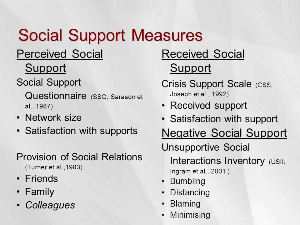 Social Support Measures Perceived Social Support Social Support Questionnaire (SSQ; Sarason et al., 1987) Network size Satisfaction with supports Provision of Social Relations (Turner et al.,1983) Friends Family Colleagues Received Social Support Crisis Support Scale (CSS; Joseph et al., 1992) Received support Satisfaction with support Negative Social Support Unsupportive Social Interactions Inventory (USII; Ingram et al., 2001 ) Bumbling Distancing Blaming Minimising