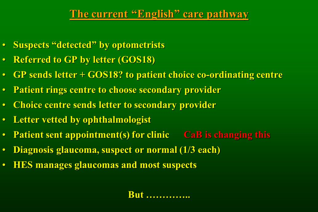 The current English care pathway Suspects detected by optometristsSuspects detected by optometrists Referred to GP by letter (GOS18)Referred to GP by letter (GOS18) GP sends letter + GOS18.