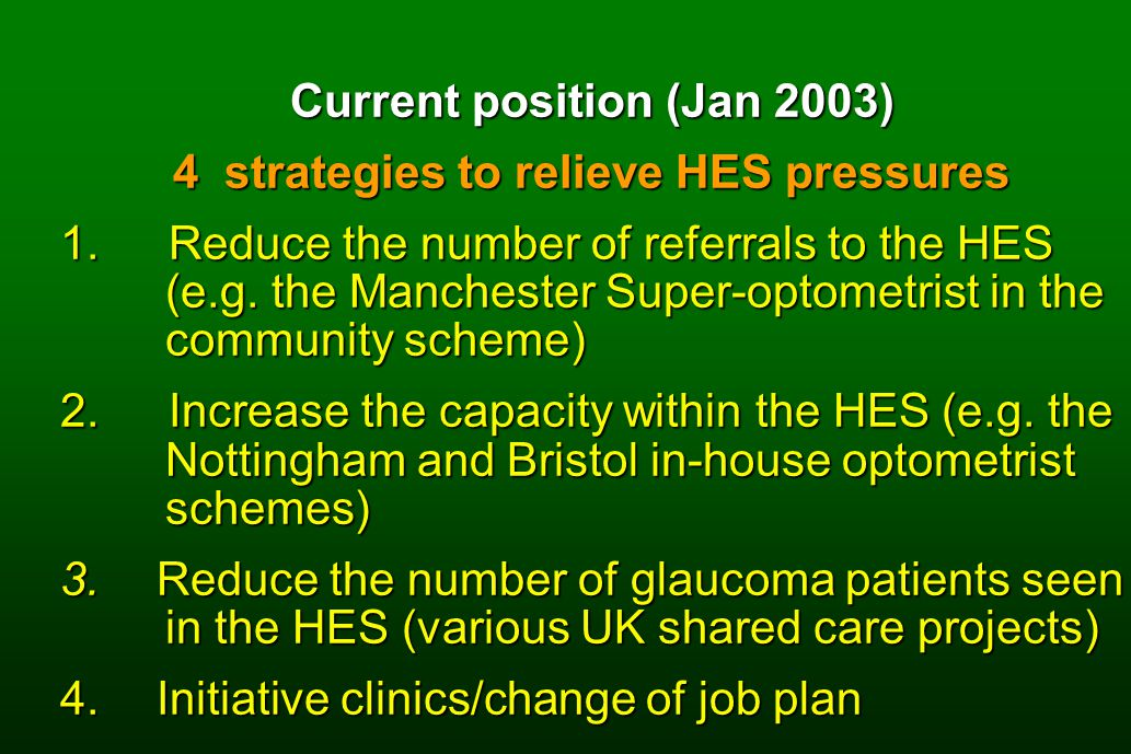Current position (Jan 2003) 4 strategies to relieve HES pressures 1.