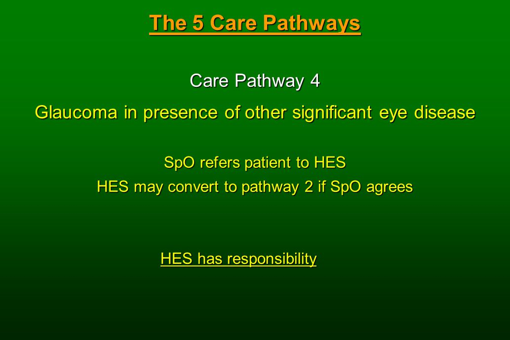 The 5 Care Pathways Care Pathway 4 Glaucoma in presence of other significant eye disease SpO refers patient to HES HES may convert to pathway 2 if SpO agrees HES has responsibility