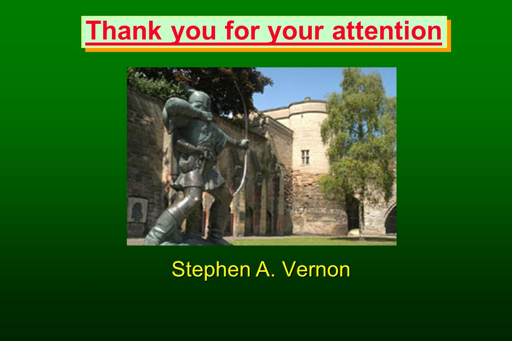 Thank you for your attention Stephen A. Vernon