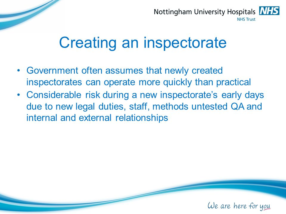 Creating an inspectorate Government often assumes that newly created inspectorates can operate more quickly than practical Considerable risk during a