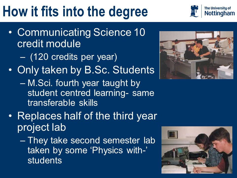 How it fits into the degree Communicating Science 10 credit module – (120 credits per year) Only taken by B.Sc.