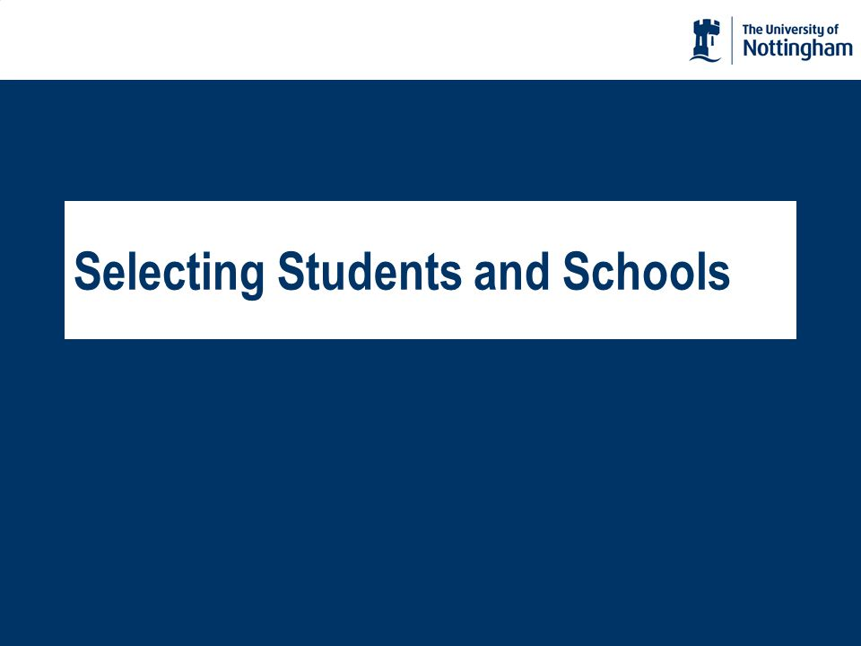 Selecting Students and Schools