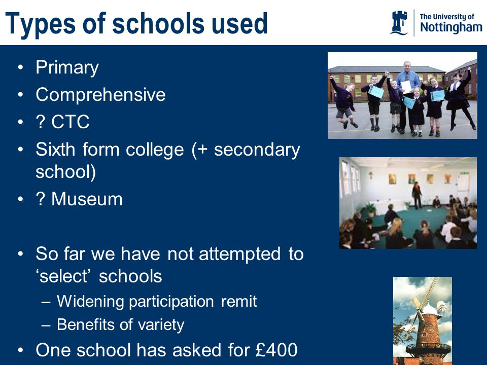 Types of schools used Primary Comprehensive . CTC Sixth form college (+ secondary school) .