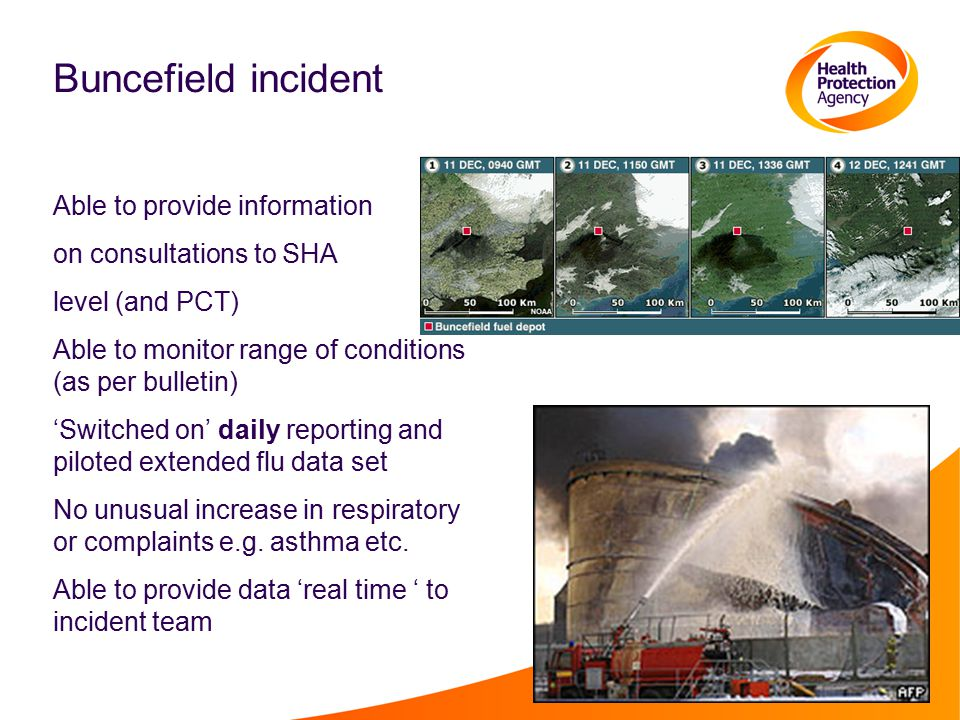 Buncefield incident Able to provide information on consultations to SHA level (and PCT) Able to monitor range of conditions (as per bulletin) 'Switched on' daily reporting and piloted extended flu data set No unusual increase in respiratory or complaints e.g.