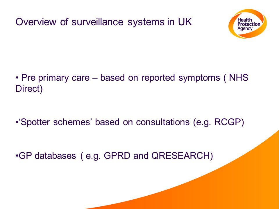 Overview of surveillance systems in UK Pre primary care – based on reported symptoms ( NHS Direct) 'Spotter schemes' based on consultations (e.g.