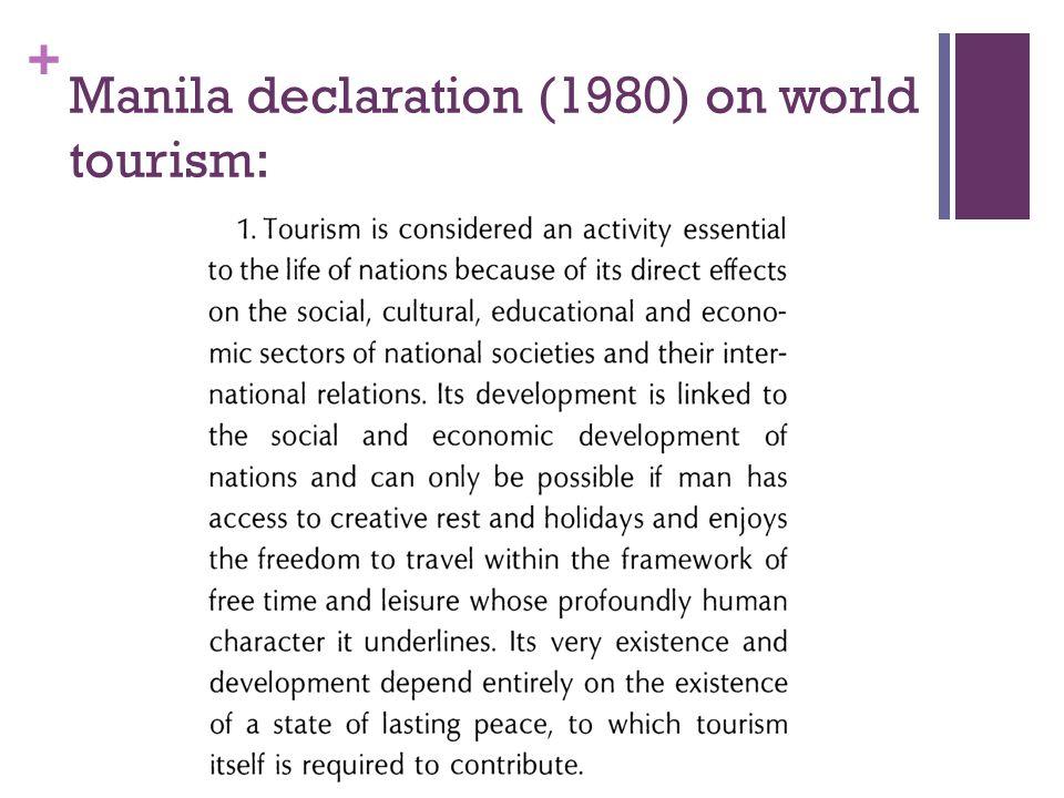+ Manila declaration (1980) on world tourism: