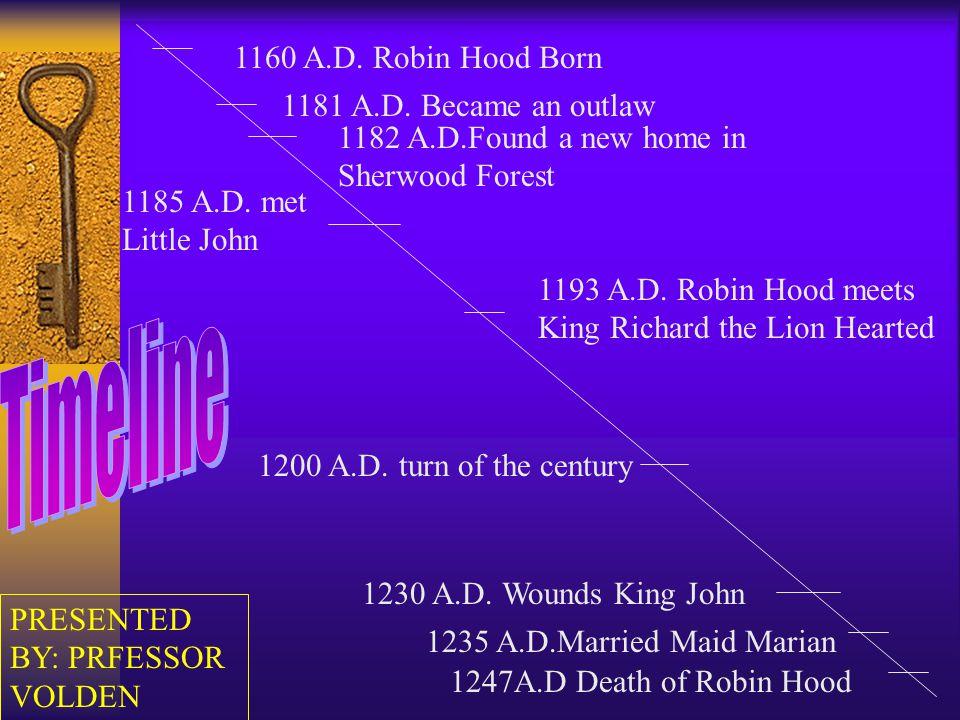1160 A.D. Robin Hood Born 1247A.D Death of Robin Hood 1230 A.D.