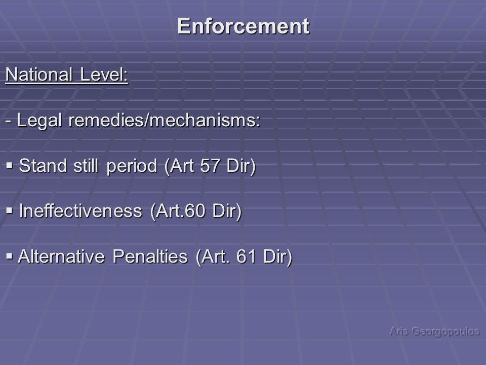 National Level: - Legal remedies/mechanisms:  Stand still period (Art 57 Dir)  Ineffectiveness (Art.60 Dir)  Alternative Penalties (Art.