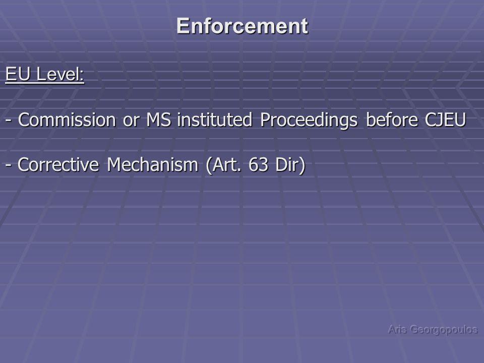 EU Level: - Commission or MS instituted Proceedings before CJEU - Corrective Mechanism (Art. 63 Dir) Enforcement