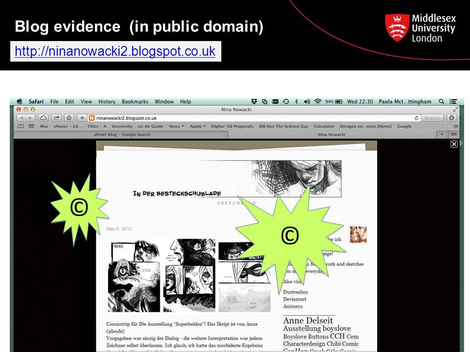 Blog evidence (in public domain) © © http://ninanowacki2.blogspot.co.uk © ©
