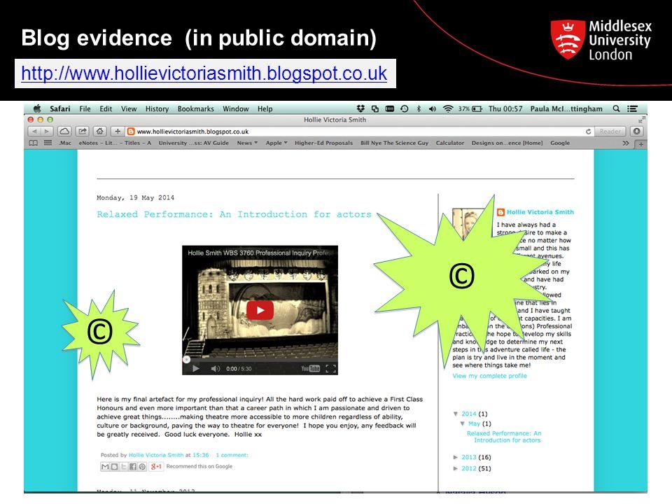 Blog evidence (in public domain) © © http://www.hollievictoriasmith.blogspot.co.uk © ©