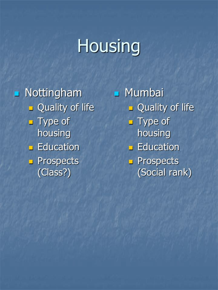 Housing Nottingham Nottingham Quality of life Quality of life Type of housing Type of housing Education Education Prospects (Class ) Prospects (Class ) Mumbai Mumbai Quality of life Type of housing Education Prospects (Social rank)