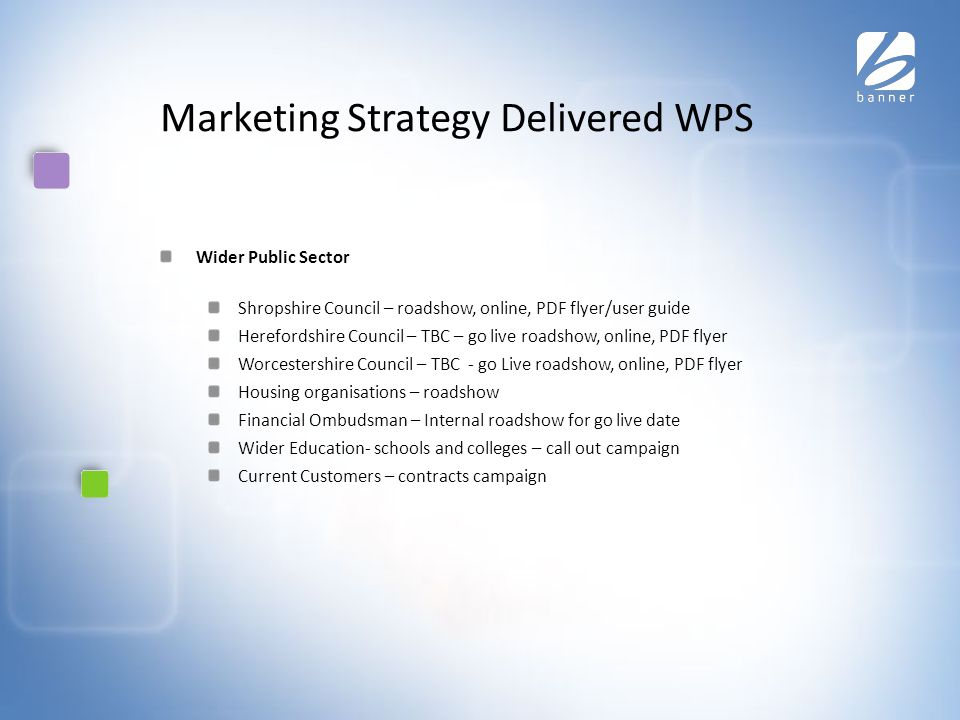 Marketing Strategy Delivered WPS Wider Public Sector Shropshire Council – roadshow, online, PDF flyer/user guide Herefordshire Council – TBC – go live roadshow, online, PDF flyer Worcestershire Council – TBC - go Live roadshow, online, PDF flyer Housing organisations – roadshow Financial Ombudsman – Internal roadshow for go live date Wider Education- schools and colleges – call out campaign Current Customers – contracts campaign