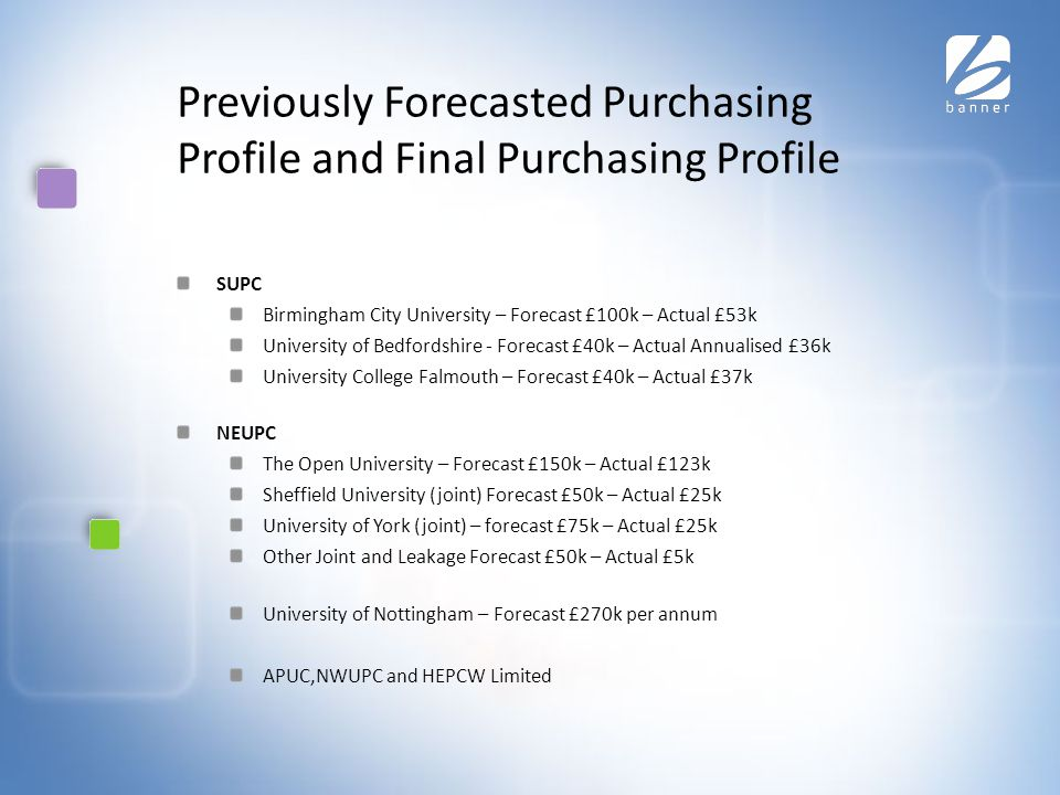 Previously Forecasted Purchasing Profile and Final Purchasing Profile SUPC Birmingham City University – Forecast £100k – Actual £53k University of Bedfordshire - Forecast £40k – Actual Annualised £36k University College Falmouth – Forecast £40k – Actual £37k NEUPC The Open University – Forecast £150k – Actual £123k Sheffield University (joint) Forecast £50k – Actual £25k University of York (joint) – forecast £75k – Actual £25k Other Joint and Leakage Forecast £50k – Actual £5k University of Nottingham – Forecast £270k per annum APUC,NWUPC and HEPCW Limited