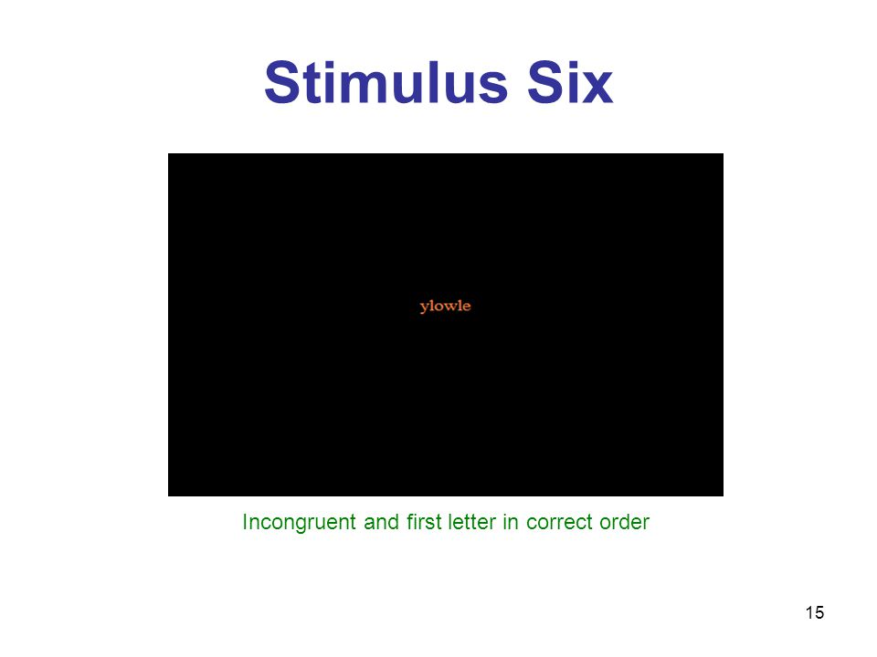 15 Stimulus Six Incongruent and first letter in correct order