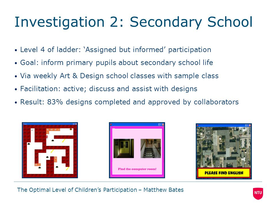 Level 4 of ladder: 'Assigned but informed' participation Goal: inform primary pupils about secondary school life Via weekly Art & Design school classes with sample class Facilitation: active; discuss and assist with designs Result: 83% designs completed and approved by collaborators The Optimal Level of Children's Participation – Matthew Bates Investigation 2: Secondary School
