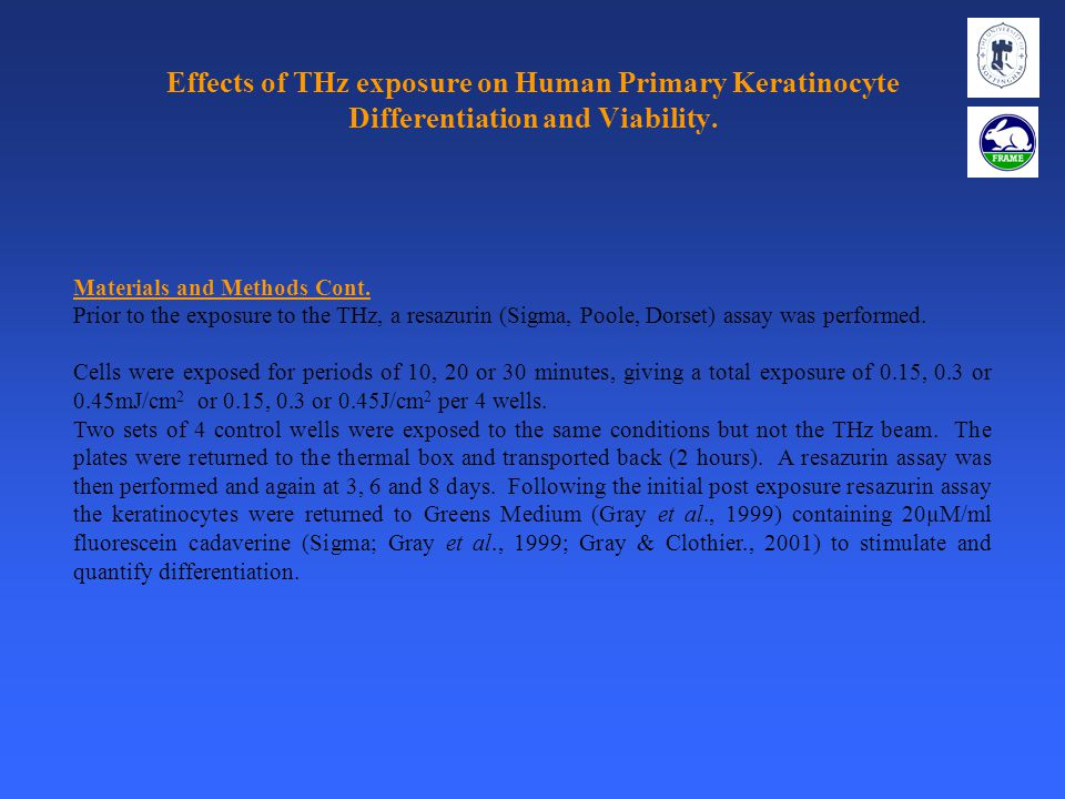 Effects of THz exposure on Human Primary Keratinocyte Differentiation and Viability. Materials and Methods Cont. Prior to the exposure to the THz, a r