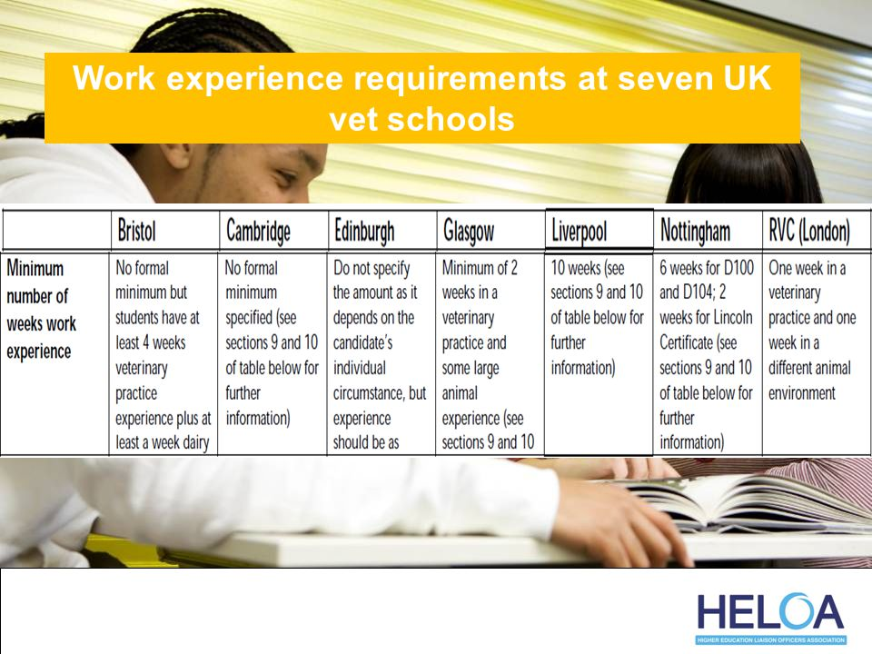 Work experience requirements at seven UK vet schools