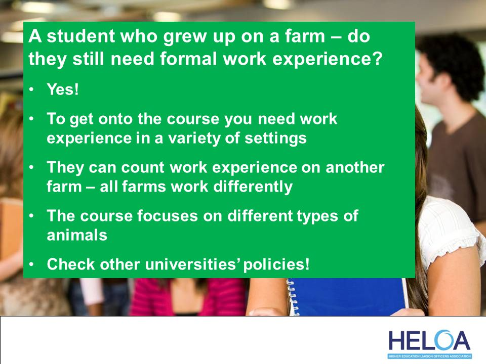 A student who grew up on a farm – do they still need formal work experience.