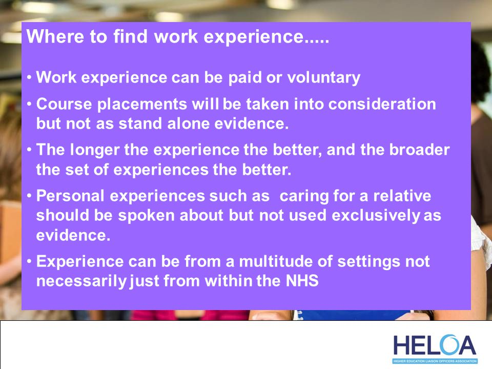 Where to find work experience.....