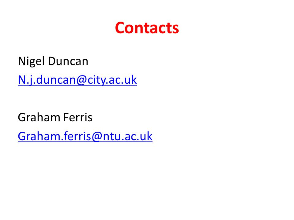 Contacts Nigel Duncan N.j.duncan@city.ac.uk Graham Ferris Graham.ferris@ntu.ac.uk